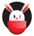 white easter rabbit face in front black circle vector image vector image
