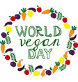 world vegan day template banner poster vector image vector image