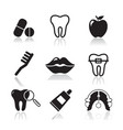 dental and orthodontics flat icons set vector image