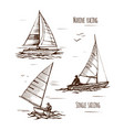 sea yachting single yachts vector image