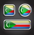 Comoros flag glass buttons vector image