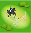 isometric young rider girl performing jump at vector image