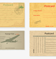 Set of old post envelopes and tickets vector image