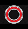 abstract red silver circle on black mesh vector image vector image