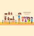 antique museum excursion with school children vector image