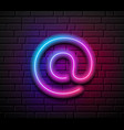 at sign neon iight colorful design on block wall vector image