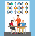 bitcoin cryptocurrencies people on seminar vector image vector image