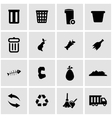 black garbage icon set vector image vector image