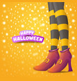 cartoon halloween party poster with women vector image