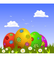 Colorful Easter eggs on grass vector image vector image