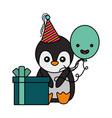 cute penguin birthday gift balloon vector image vector image