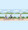 cyclists people outdoor happy young man and vector image vector image