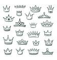 doodle crowns sketch crown queen king coronet vector image vector image
