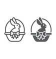 easter bunny in basket line and glyph icon easter vector image vector image