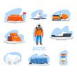 expedition to arctic set polar explorer vector image