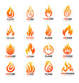 fire logo burning flame hot symbols vector image