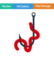 Flat design icon of worm on hook vector image vector image