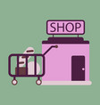 flat icon shop cart with food vector image vector image