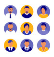 flat modern purple minimal avatar icons business vector image vector image