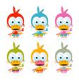 Funny Red Bird - Chicken - Duck Set vector image