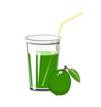 glass of green lime juice vector image
