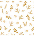gold floral christmas pattern fir branches vector image vector image