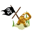 Golden monkey in sand and mast with pirate flag vector image vector image