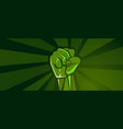 green revolution hand fist strong protest fight vector image vector image