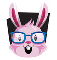 happy face of pink easter bunny with eyeglasses vector image vector image