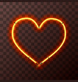 heart-shaped bright yellow and orange neon frame vector image