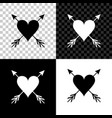 heart with arrow icon isolated on black white and vector image vector image