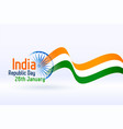 indian republic day wavy flag design background vector image vector image