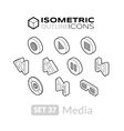 Isometric outline icons set 37 vector image