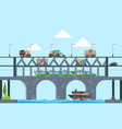 landscape with bridge speed truck highway bridge vector image vector image