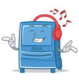 listening music mailbox character cartoon style vector image vector image