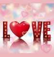 love red letters card with lights realistic vector image