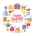merry christmas happy winter days congrats frame vector image