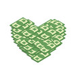 money heart i love cash i like dollars vector image vector image