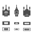 Monitor hardware icons cabels vector image