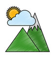 mountains camp with cloud and sun vector image vector image