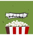 Mouth Monster is ready for eating popcorn vector image vector image