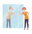 narcissistic woman character looking at mirror and vector image vector image