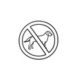 no dog allowed sign hand drawn outline doodle icon vector image