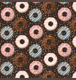 pattern with glazed donuts on brown vector image vector image