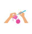 people crochet hands holding hook hand made vector image