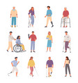 people with disabilities injuries set female vector image vector image