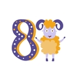 Ram Standing Next To Number Eight Stylized Funky vector image vector image