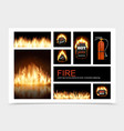 realistic fire composition vector image vector image
