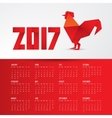 Red Rooster Chinese symbol of the year made from vector image vector image