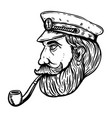sea captain with smoking pipe vector image